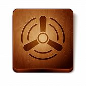Brown Wind Turbine Icon Isolated On White Background. Wind Generator Sign. Windmill For Electric Pow poster