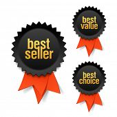 Best seller, best value and best choice labels with ribbon. Vector.