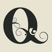 calligraphic letter Q