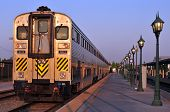 picture of amtrak  - An Amtrak California train leaves the station in the early morning - JPG