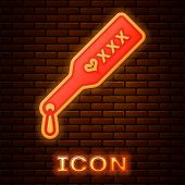 Glowing Neon Spanking Paddle Icon Isolated On Brick Wall Background. Fetish Accessory. Sex Toy For A poster