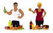 Man And Woman Portrait View Holding Hamburger And Bottle. Fast Food And Overweight People, Unhealthy poster