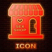 Glowing Neon Sex Shop Building With Striped Awning Icon Isolated On Brick Wall Background. Sex Shop, poster
