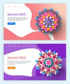Papercut 3d Flower, Summer Discount And Spring Sale Vector, Flowers And Blossom Brochure With Inform poster