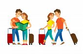 Couple Traveling Vector, Man And Woman With Luggage Walking. Arrived People Strolling, Lost Male And poster