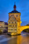 The Half-timbered Old Town Hall Of Bamberg In Germany At Night poster