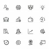 Stock Trading Line Icon Set. Investor, Broker, Businessman. Business Concept. Can Be Used For Topics poster