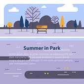 Countryside Concept, Small Bench And Trees, River Current, Beautiful View, Vector Flat Design Illust poster