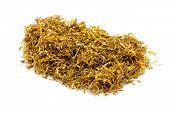 foto of tobaco leaf  - closeup heap of snuff used for rolling cigarettes - JPG