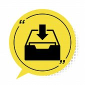 Black Download Inbox Icon Isolated On White Background. Add To Archive. Yellow Speech Bubble Symbol. poster