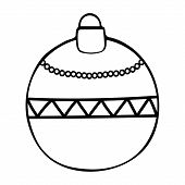 Christmas Tree Toy. Glass Bowl. Colorless Background. Coloring Book For Children. Christmas. New Yea poster