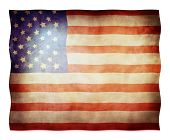 stock photo of waving american flag  - American flag waving in the wind with folds - JPG