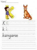 Alphabet worksheet of the letter K