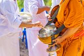 The Monks Of The Buddhist Sangha(give Alms To A Buddhist Monk), Which Came Out Of The Buddhist Offer poster