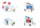Online Consulting Set. Consultants Giving Advice From Device Screens. Flat Vector Illustrations. Bus poster