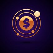 Gold Target With Dollar Symbol Icon Isolated On Dark Blue Background. Investment Target Icon. Succes poster