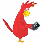 Cartoon Character Funny Parrot Isolated on White Background. Tablet User . Vector EPS 10.