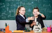 Educational Experiment Concept. Microscope And Test Tubes On Table. Perform Chemical Reactions. Basi poster