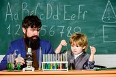 Teacher Bearded Scientist Man Child Test Tubes. Chemical Experiment. Genius Child Private Lesson. Kn poster