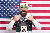 Proud Of My Country. Winter Holidays Season. American Guy Joined Cheerful Celebration. American Trad poster