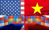 Concept Image Of Usa - Vietnam Trade War, Economy Conflict, Trade Frictions poster