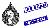 Mosaic Snake Oil Icon And Rectangular Irs Scam Seal Stamps. Flat Vector Snake Oil Mosaic Icon Of Ran poster