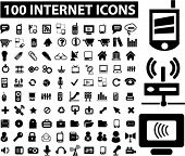 100 internet icons set, vector