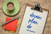 dream, plan, do - handwriting on a clipboard  with a cup of coffee.  Inspirational phrase for person poster