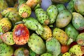 stock photo of prickly pears  - Tropical delicious cactus fruits on sale at market - JPG