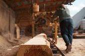 Joiner works on woodworking machine, lumbering poster