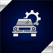 Silver Car Service Icon Isolated On Dark Blue Background. Auto Mechanic Service. Repair Service Auto poster