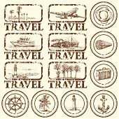travel stamp, mark - hand drawn collection