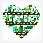 forma de coração com cidade verde