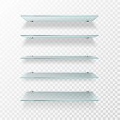 Glass Shelves. Transparent Wall Product Display, Empty Store Shelving. Glass Showcase Isolated Vecto poster