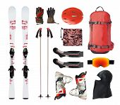 Flat Lay Of Mountain Ski Equipment And Alpine Accessories. Helmet, Boots, Ski Goggles, Etc. Isolated poster