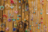 Colorful Handmade Necklaces At A Tourist Market In Malta.handmade Traditional Jewelry At The Market, poster