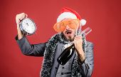 Time Celebrate Winter Holiday. Boss Santa Hat Celebrate New Year Or Christmas. Christmas Party Invit poster