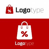 Red Shoping Bag With An Inscription Percent Discount Icon Isolated On White Background. Handbag Sign poster