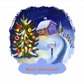 Happy New Year Postcard With Cottage House In Snow And Decorated Xmas Tree At Midnight. Digital Art  poster