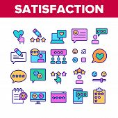 Satisfaction Feedback Collection Icons Set Vector Thin Line. Happy And Unhappy Smiles On Computer Sc poster