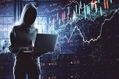 Hacker With Laptop Using Digital Business Interface poster