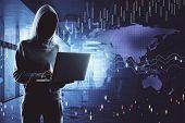 Hacker Using Digital Business Interface poster