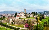 Brescia Castle Aerial Panoramic View. Castle Of Brescia Is A Medieval Castle Locate Atop Cidneo Hill poster