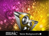 Party night background with shiny multicolor rays and speakers, can be use as flyer, banner or poster for discotheque, party and other events. EPS 10. Vector illustration.