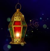 A ramadan lantern against tiny electric light background.