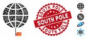 Mosaic South Pole Icon And Rubber Stamp Seal With South Pole Phrase. Mosaic Vector Is Designed With  poster