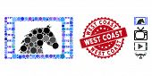 Mosaic Western Movie Icon And Rubber Stamp Seal With West Coast Text. Mosaic Vector Is Formed With W poster