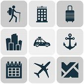 Journey Icons Set With City, Suv, Hotel And Other Metropolis Elements. Isolated Illustration Journey poster