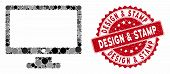 Mosaic Monitor And Grunge Stamp Seal With Design And Stamp Phrase. Mosaic Vector Is Designed With Mo poster