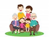 Big Happy Family Sitting On The Sofa. Grandmother, Grandfather, Father, Mother, Children Ector Illus poster